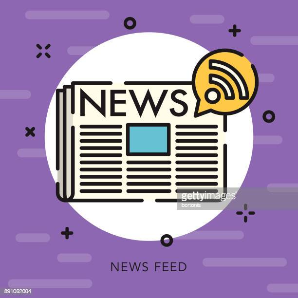 News Feed Open Outline Social Media Icon