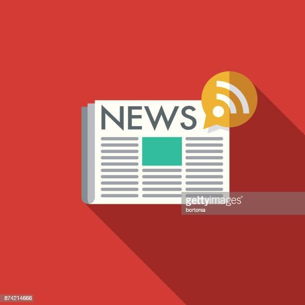 ilustrações, clipart, desenhos animados e ícones de plano de rss news feed social media icon design com sombra do lado - jornal