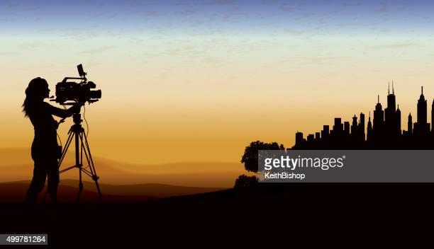 News, Film Crew City Background