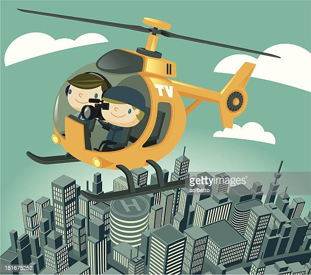 tv news helicopter - camera operator stock illustrations, clip art, cartoons, & icons