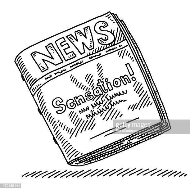 """news """"sensation überschrift zeichnung - journalismus stock-grafiken, -clipart, -cartoons und -symbole"""
