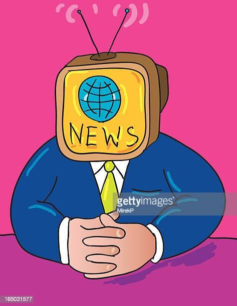 news man anchorman - tv reporter stock illustrations, clip art, cartoons, & icons