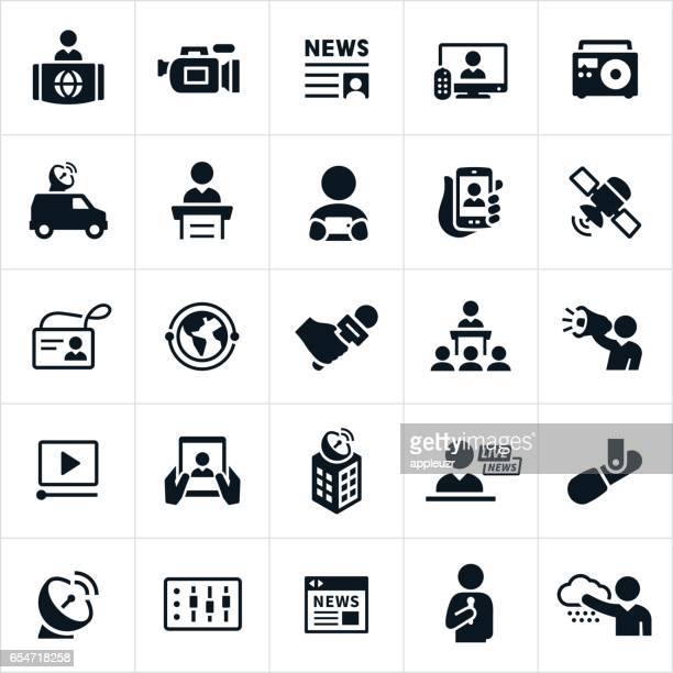 news media icons - television industry stock illustrations