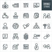 News Media Thin Line Icons - Editable Stroke