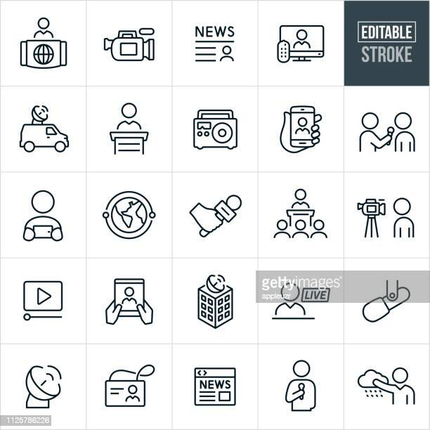 news media thin line icons - editable stroke - microphone transmission stock illustrations