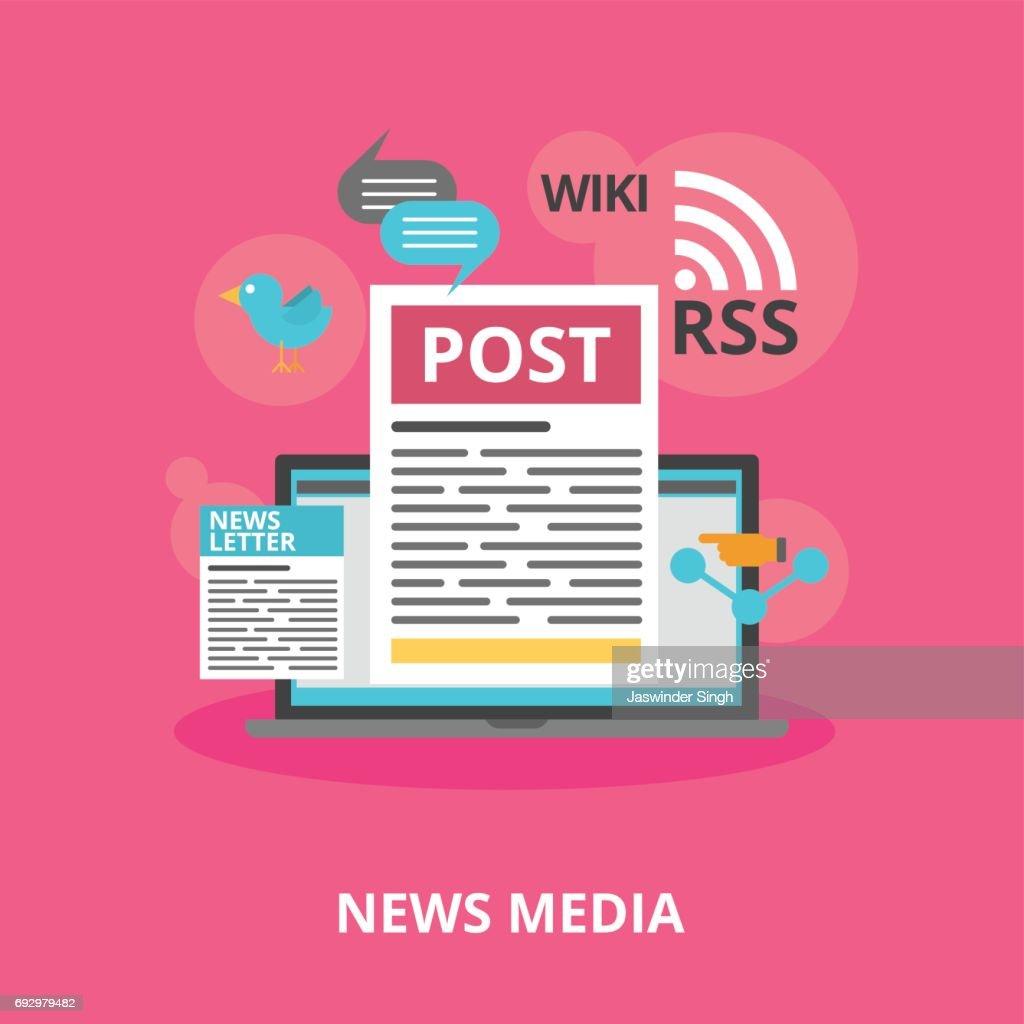 news media wiki, rss vector and news media vector