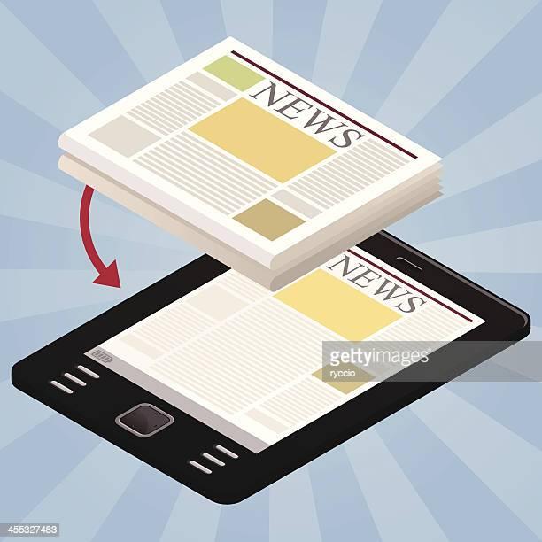nachrichten auf dem tablet - electronic organizer stock-grafiken, -clipart, -cartoons und -symbole