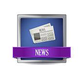 News paper icon button illustration design over white