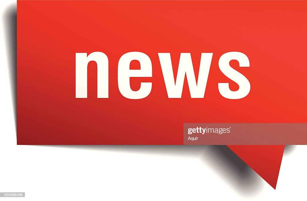 news red 3d realistic paper speech bubble