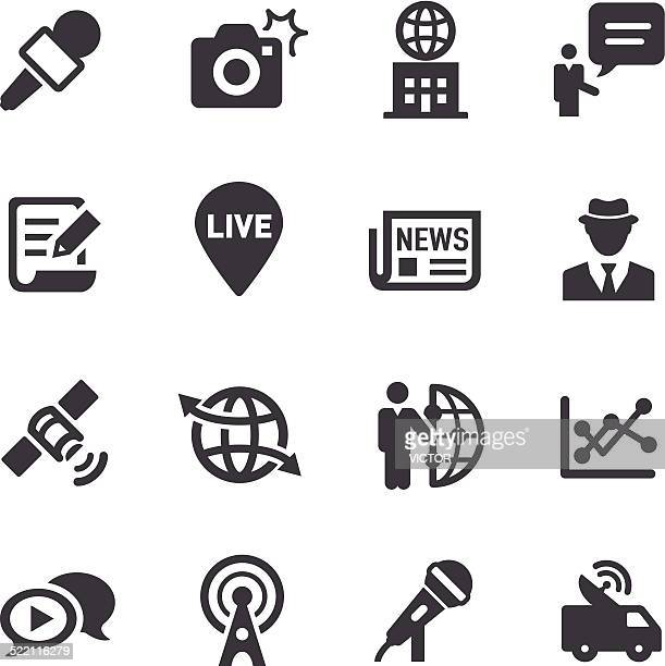 news reporter icons - acme series - microphone transmission stock illustrations