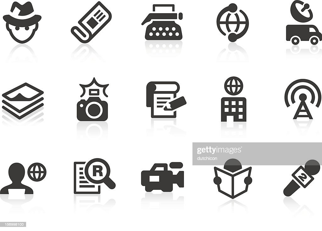 News reporter icons for design and application