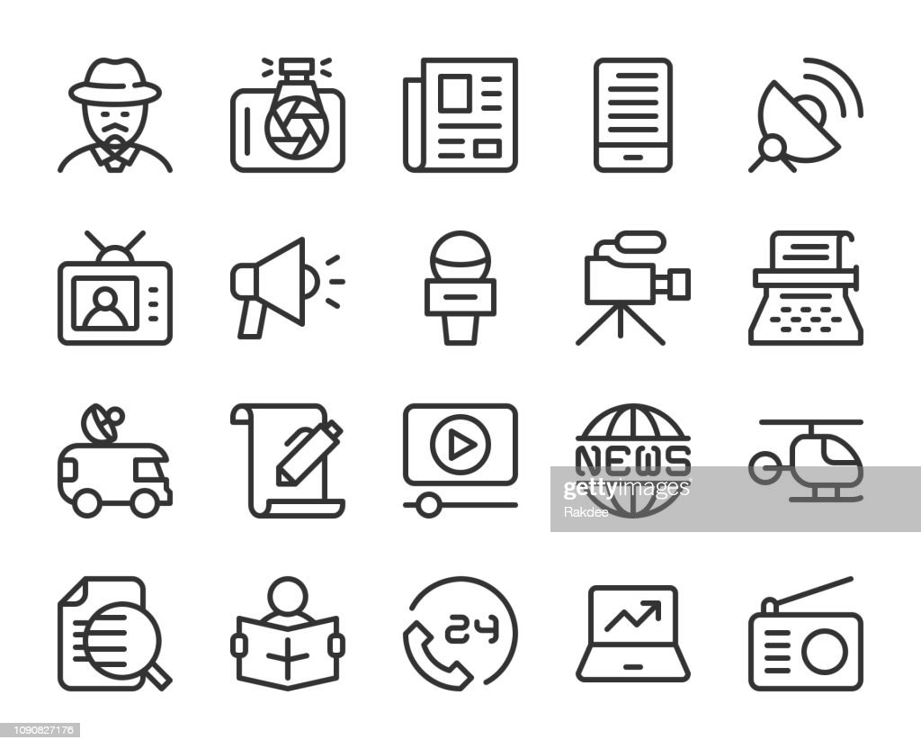 News Reporter - Line Icons : stock illustration