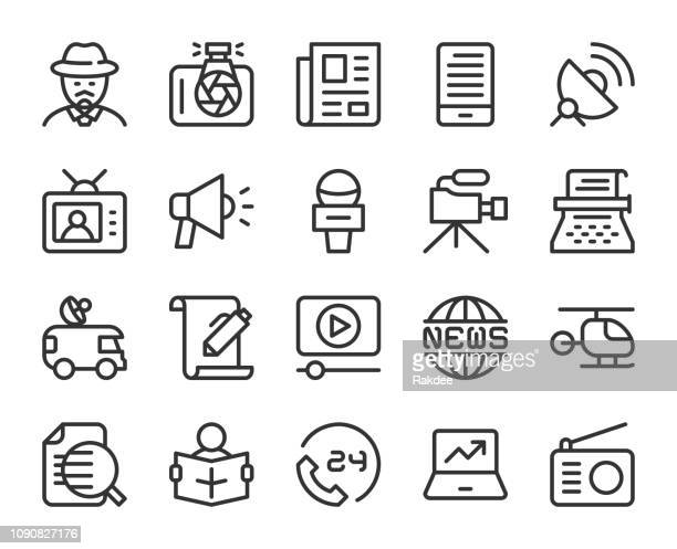 news reporter - line icons - television industry stock illustrations
