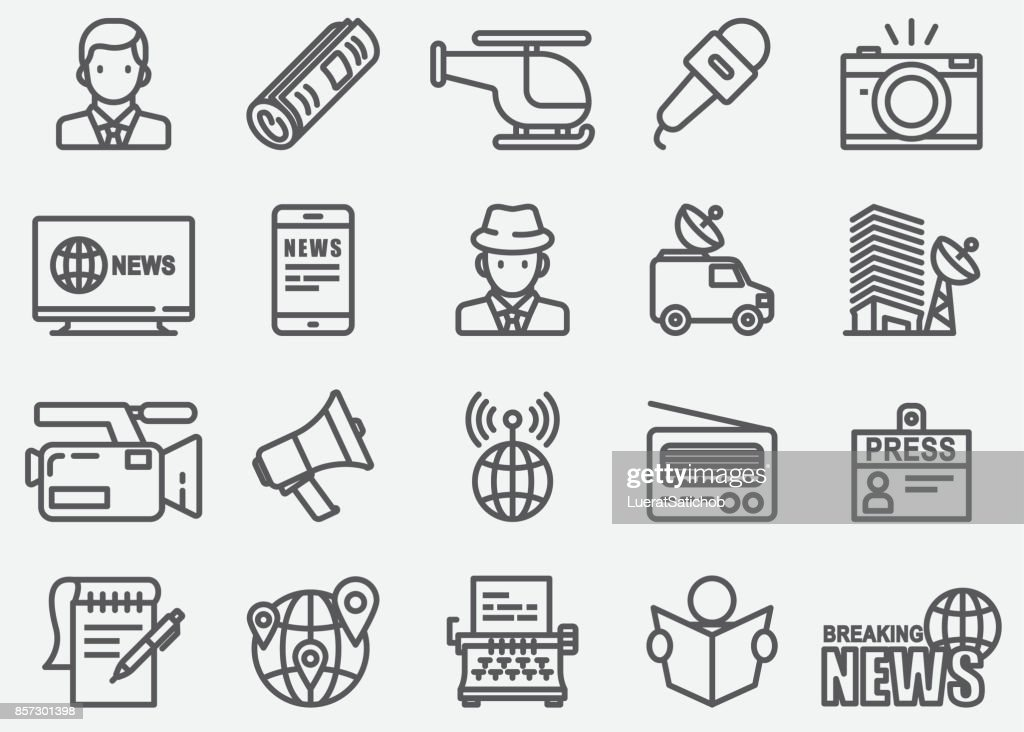 News Reporter Line Icons