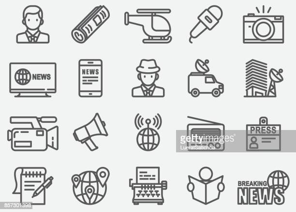 news reporter line icons - microphone transmission stock illustrations