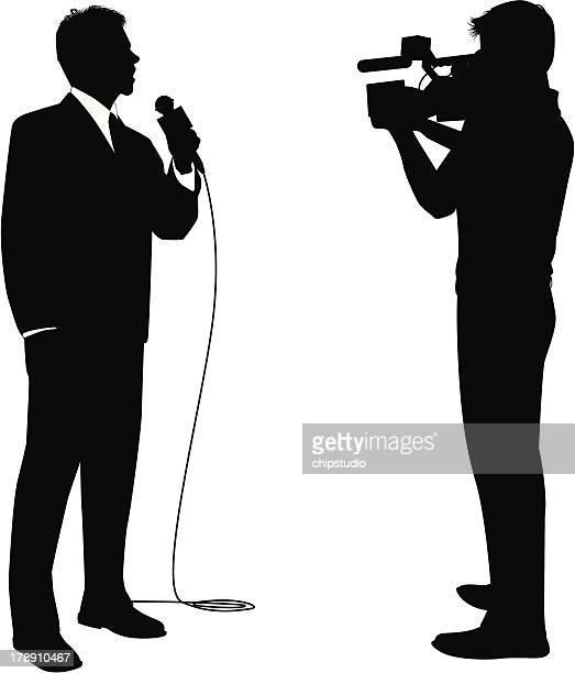 news reporter - film crew stock illustrations
