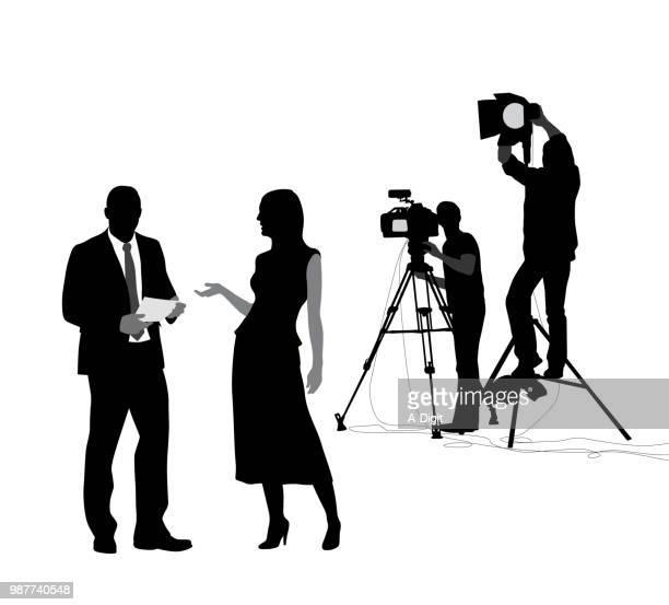 news shoot preparation - actor stock illustrations