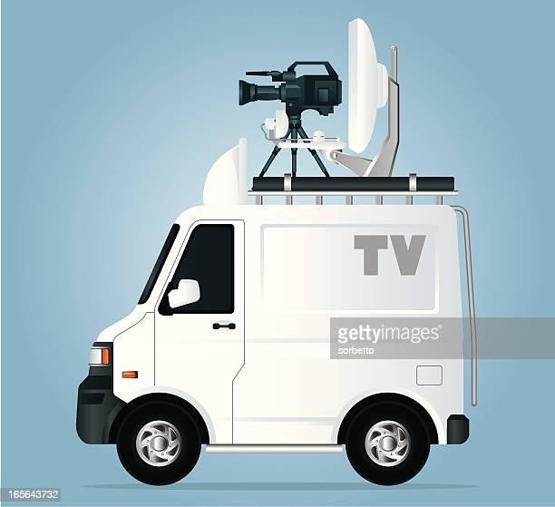 tv news van - tv reporter stock illustrations, clip art, cartoons, & icons