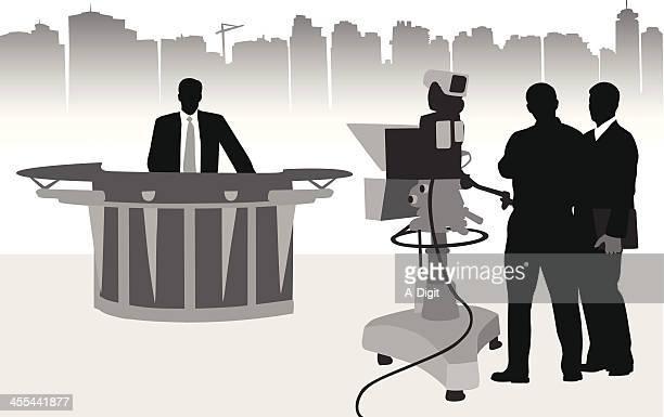 tv news - film crew stock illustrations