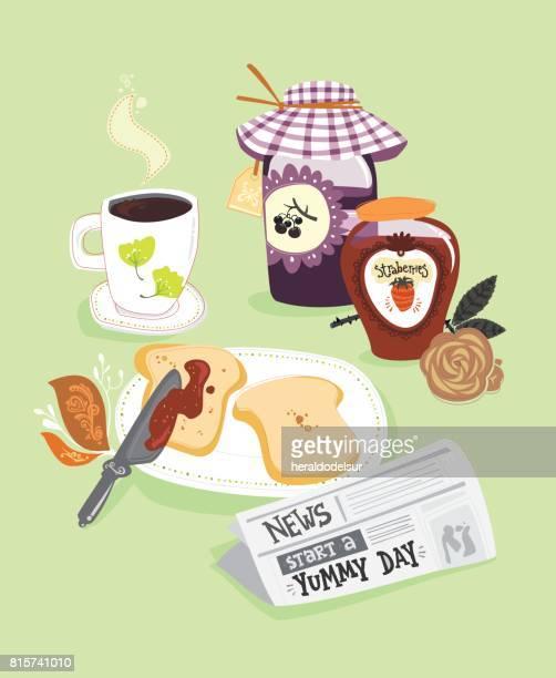 ilustrações de stock, clip art, desenhos animados e ícones de news_and_breakfast - mesa cafe da manha