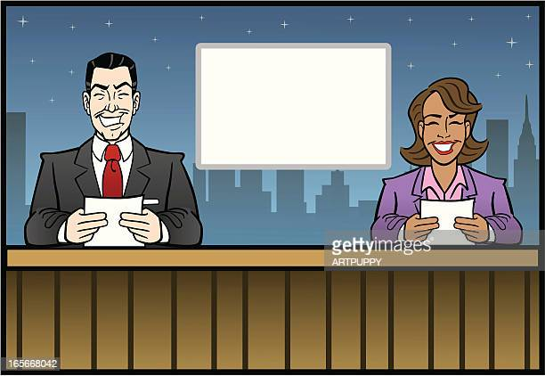 newscasters - tv reporter stock illustrations, clip art, cartoons, & icons