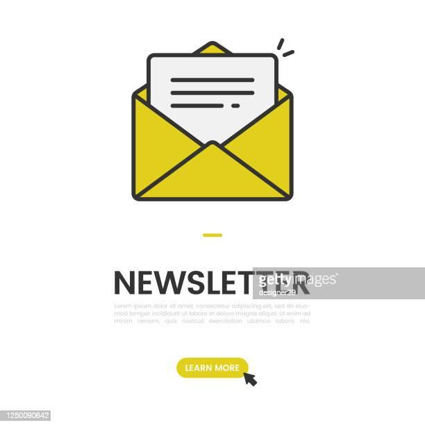 newsletter und e-mail abonnieren banner vector design. - e mail stock-grafiken, -clipart, -cartoons und -symbole