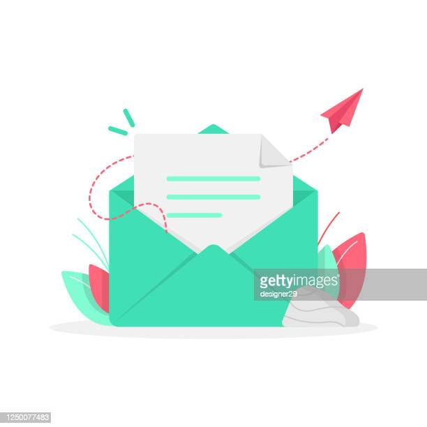 newsletter and email subscribe icon flat design. - e mail inbox stock illustrations