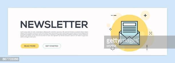 newsletter concept - flat line web banner - newsletter stock illustrations