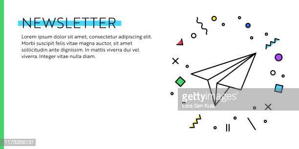 illustrations, cliparts, dessins animés et icônes de concept newsletter. géométrique rétro et géométrique style web banner and poster concept with paper airplane icon. - panoramique