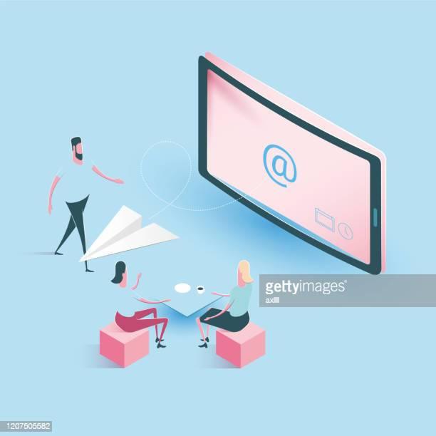 newsletter email inbox - isometric illustration - newsletter stock illustrations
