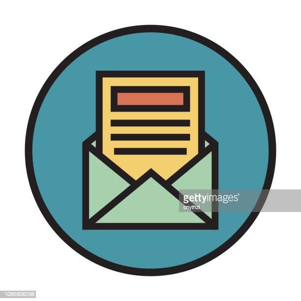newsletter flat line icon - newsletter stock illustrations
