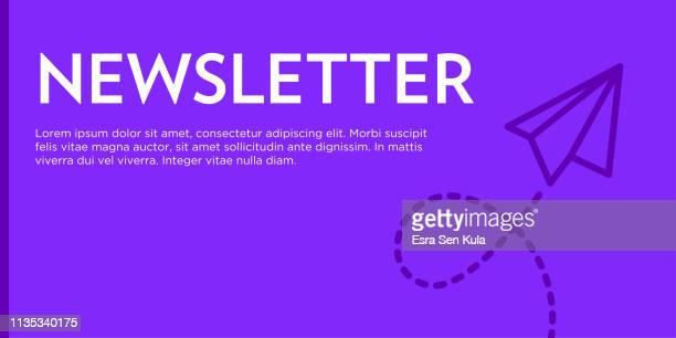 newsletter flaches web-banner - abschicken stock-grafiken, -clipart, -cartoons und -symbole