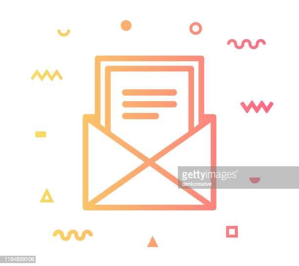 newsletter line style icon design - newsletter stock illustrations