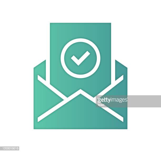 newsletter planning gradient color & papercut style icon design - e mail inbox stock illustrations