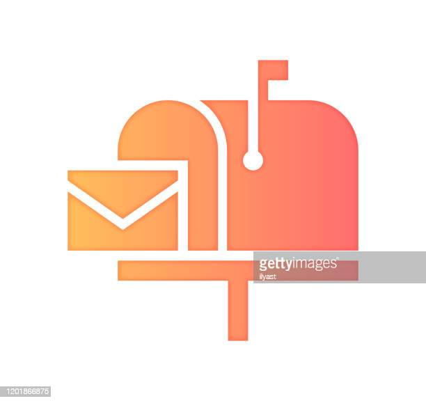 newsletter subscription gradient fill color & paper-cut style icon design - newsletter stock illustrations