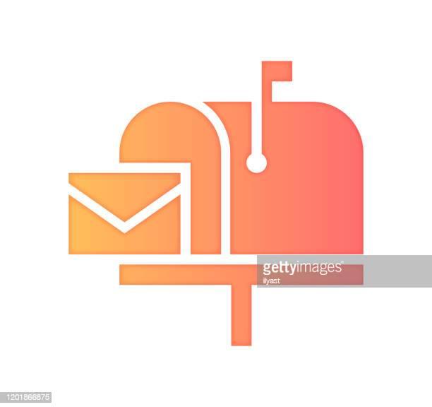 newsletter abonnement farbverlauf farbe & paper-cut style icon design - abschicken stock-grafiken, -clipart, -cartoons und -symbole