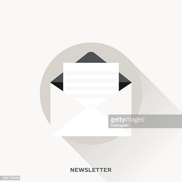 newsletter with envelope vector image in beige - newsletter stock illustrations