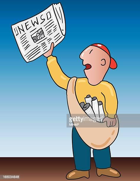 illustrations, cliparts, dessins animés et icônes de journal garçon - marchand