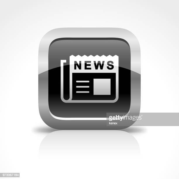 newspaper communication glossy button icon - proofreading stock illustrations, clip art, cartoons, & icons