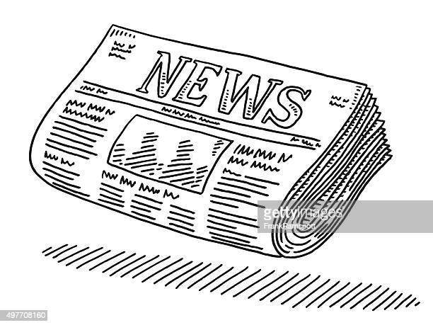 ilustrações, clipart, desenhos animados e ícones de desenho de jornal - jornal