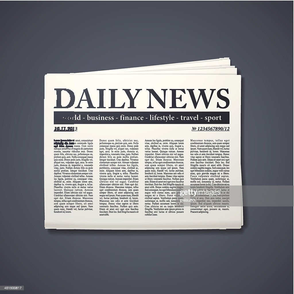 A newspaper entitled Daily News on a gray background