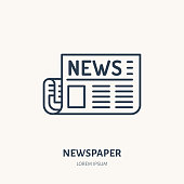 Newspaper flat line icon. News article sign. Thin linear logo for press