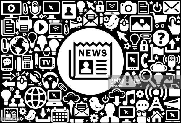 Newspaper Icon Black And White Internet Technology Background Vector