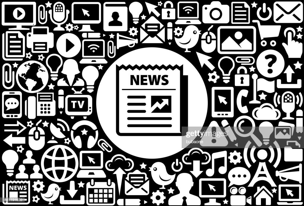 Newspaper Icon Black And White Internet Technology Background