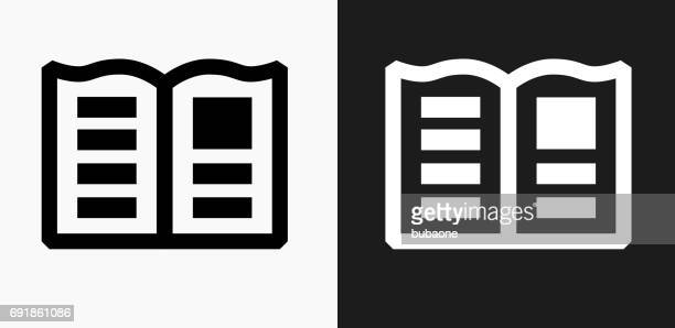 Newspaper Icon on Black and White Vector Backgrounds