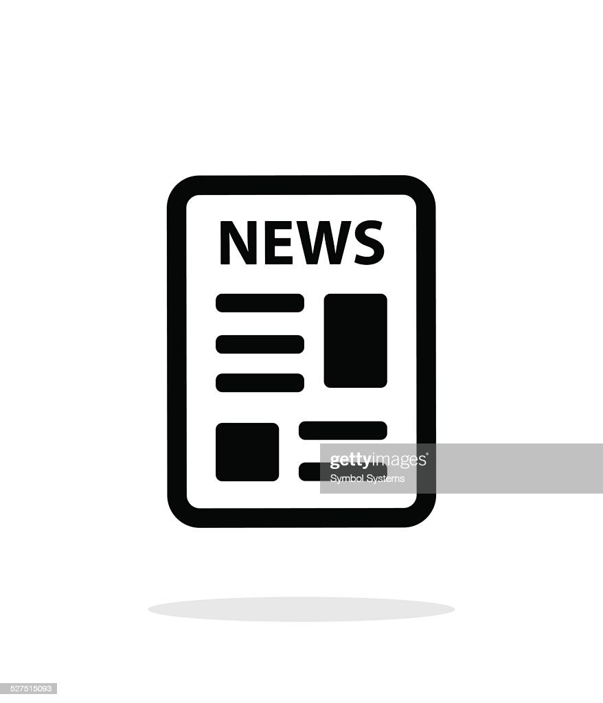 Newspaper icon on white background.