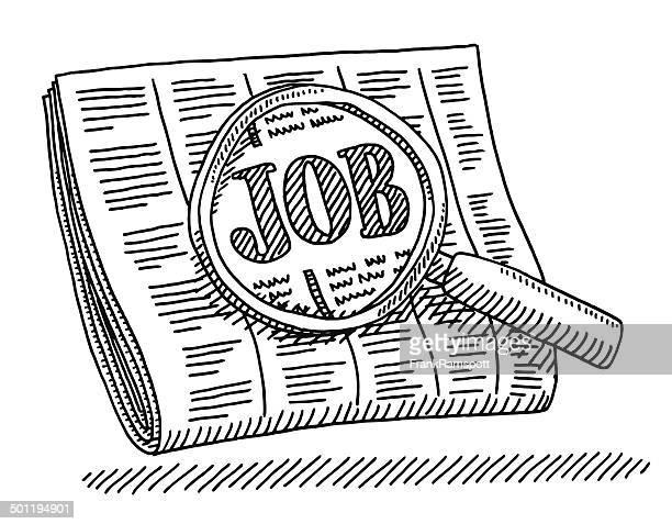 Zeitung Job Zylinderlupe Zeichnung
