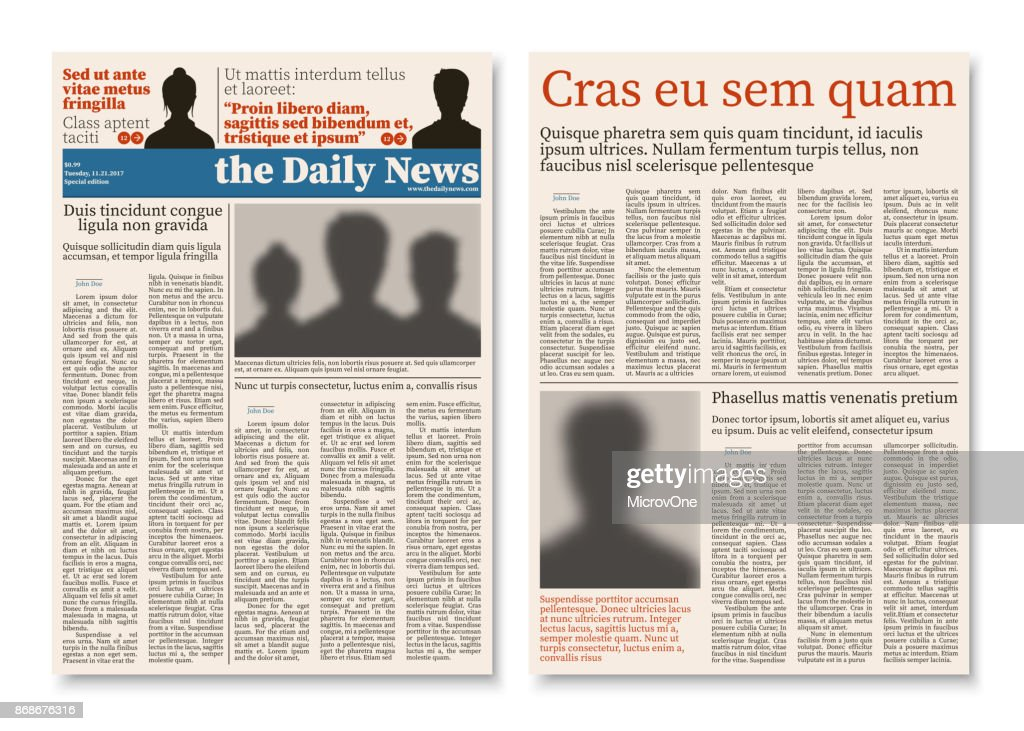 Newspaper journal modular construction with advertising information vector template