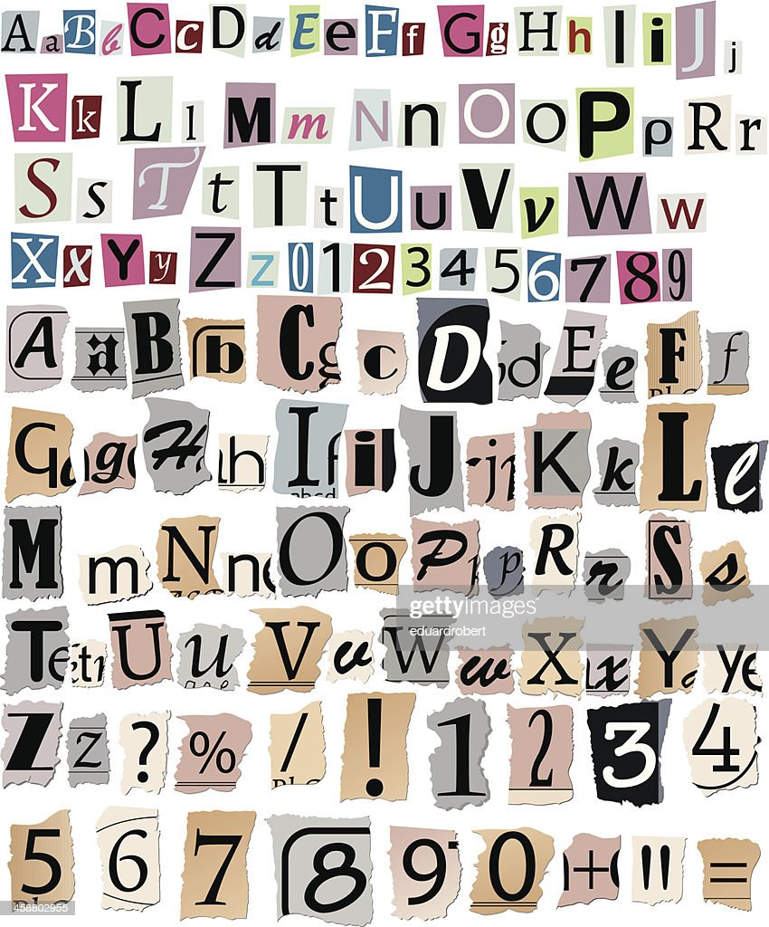 Newspaper letters and numbers