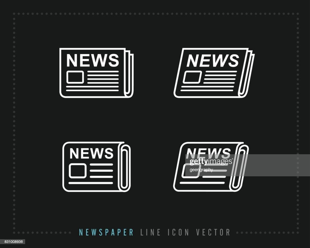 Newspaper line icon vector, pictogram isolated on back. news icon illustration